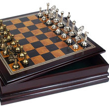 wooden chess set with metal pieces chess+games