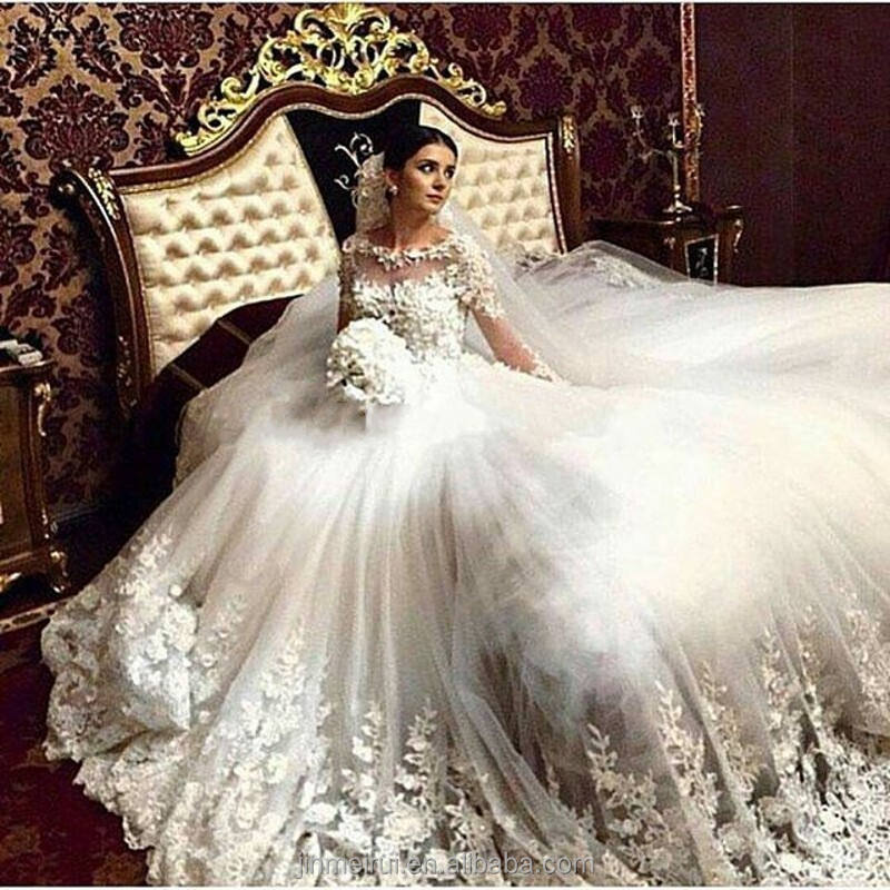2017 Luxury A Line Wedding Dresses Vintage Cathedral Train Lace Appliques Long Sleeve Vestido De Noiva Wedding Gown
