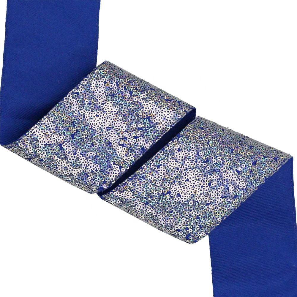 Wholesale 3 Inch Sparkly Fabric Glitter Reversible Sequin Lace Ribbon
