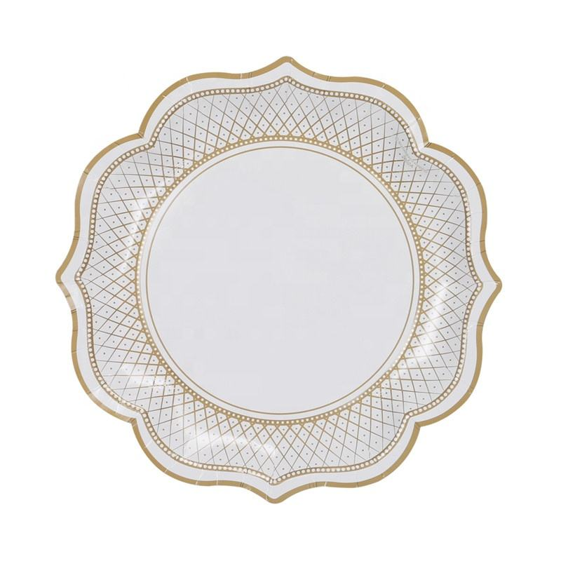 Classical Hot Sell Disposable 400gsm 12 inch Large Vintage Stripe Floral Paper Party Plates