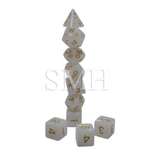 Box Packaging D4 D6 D8 D10 D12 D20 Bright White Color 10Pcs Set Creative Multi-Faceted Pearl Gemmed Acrylic Dice