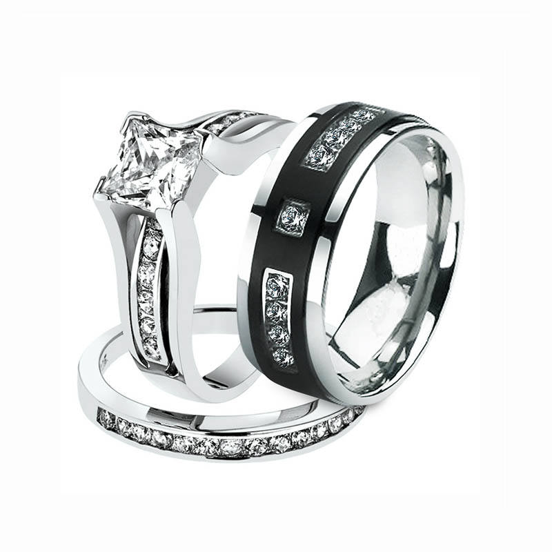 Hot Sale customized couple lovers Silver and Stainless steel or Titanium Engagement and Wedding Ring Set