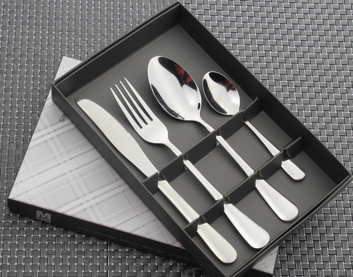 2018 new style Hot sale promotional high-grade use stainless steel cutlery 24pcs set with window colored box
