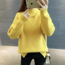 2018 autumn winter crew neck long sleeve letter print loose women knitted knee woman sweater