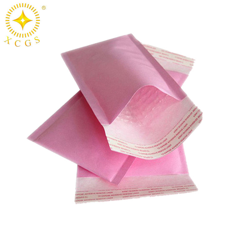 Wholesale custom padded envelopes bags pink kraft paper wrap bubble lining mailers manufacturer