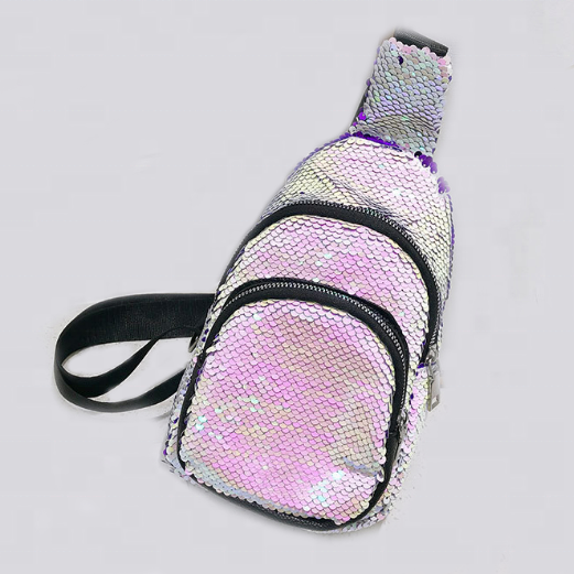 rainbow glitter new fashion fanny pack, sequined chest bag sling shoulder bag for ladies