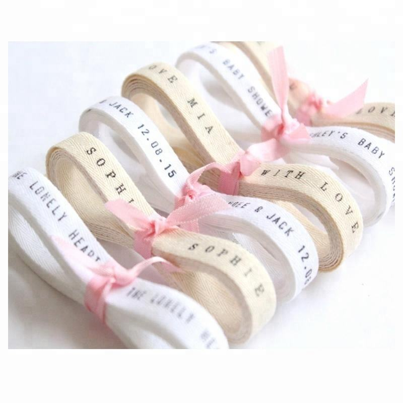 "Custom 3/8"" twill herringbone tape printed natural cotton ribbon"