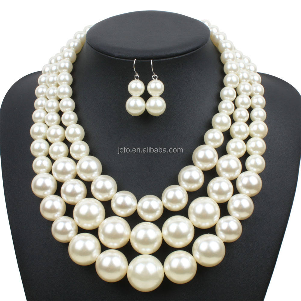 Fashion Elegant white black multilayer imitation pearl collar bib necklace