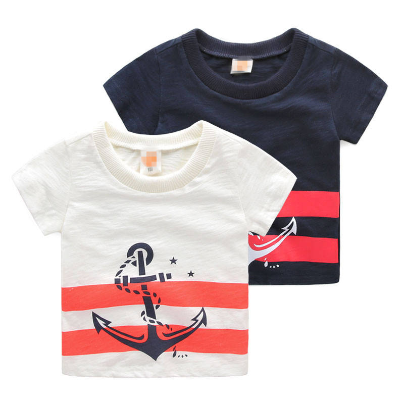 Wholesale Baby Boys Sail Style T-shirt Black And White Organic Cotton T-shirt