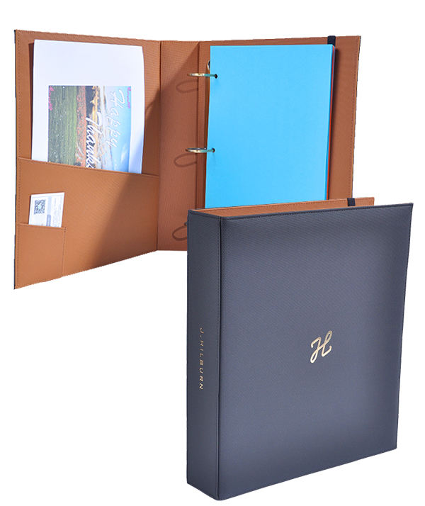 Customize high quality pu leather ring binder / 3 ring binder /embossed A4 file folder