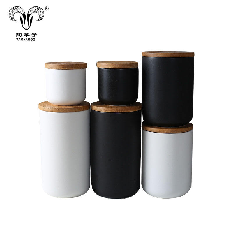 wholesale black white ceramic storage canister sets with bamboo cover