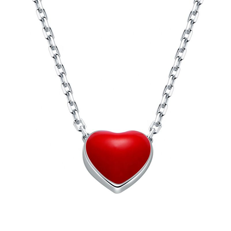ML72 Import jewelry from china fancy red heart 925 stamp silver lacie heart pendant necklace for valentine's day gift