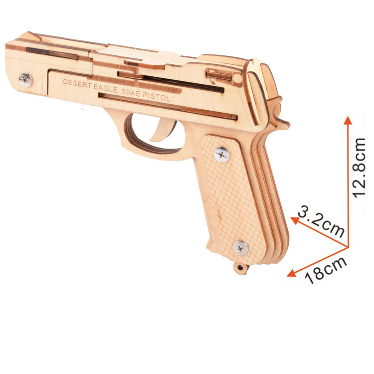 New-Land Eco-friendly Toy Gun 3D Wooden Puzzles For Kids