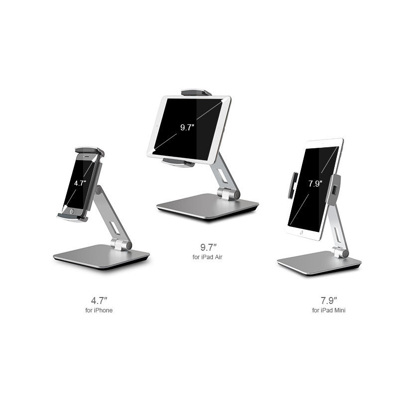 2019 Hot Jual Universal Adjustable Foldable Tablet Stand Logam Aluminium Ponsel Pemegang untuk Apple Ipad Air