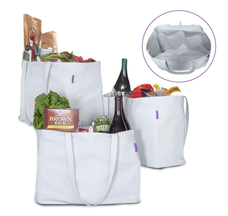 Reusable Grocery Bags With 6 Interior Panels Cotton Tote Bag