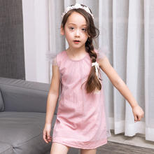 One Piece Hot Pink Fashion Cotton Frocks Outfit Kids Summer Clothes Beautiful Mesh Dress