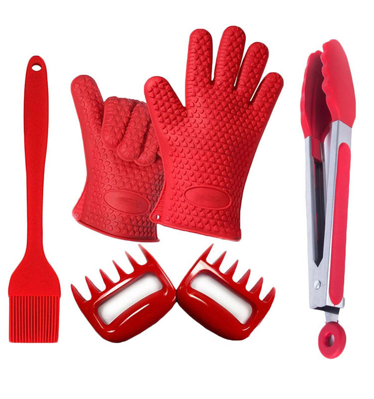 Meat Shredder Plus Baster Brush Plus Bbq Tong Plus Silicone Magic Glove BBQ Set