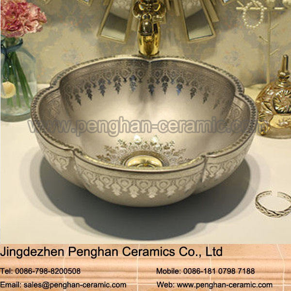 Wholesale artistic color glazed oval bathroom ceramic art bath sink
