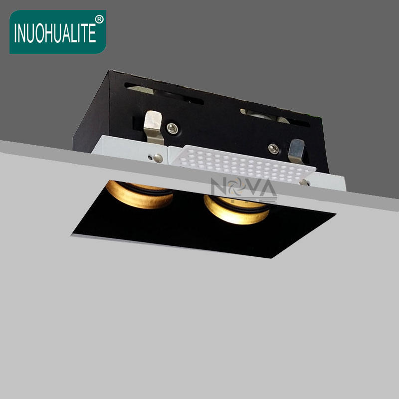 Recessed dimmable double head trimless spot light mr16 gu10