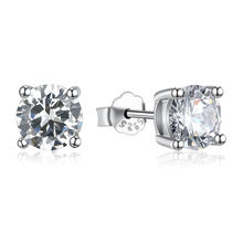 2SHE Custom 925 sterling silver cubic zirconia stud earrings