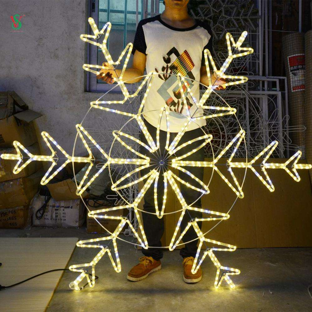 outdoor commercial christmas holiday motif 220V waterproof LED Snowflake neon Light 2D Pole Mounted Light