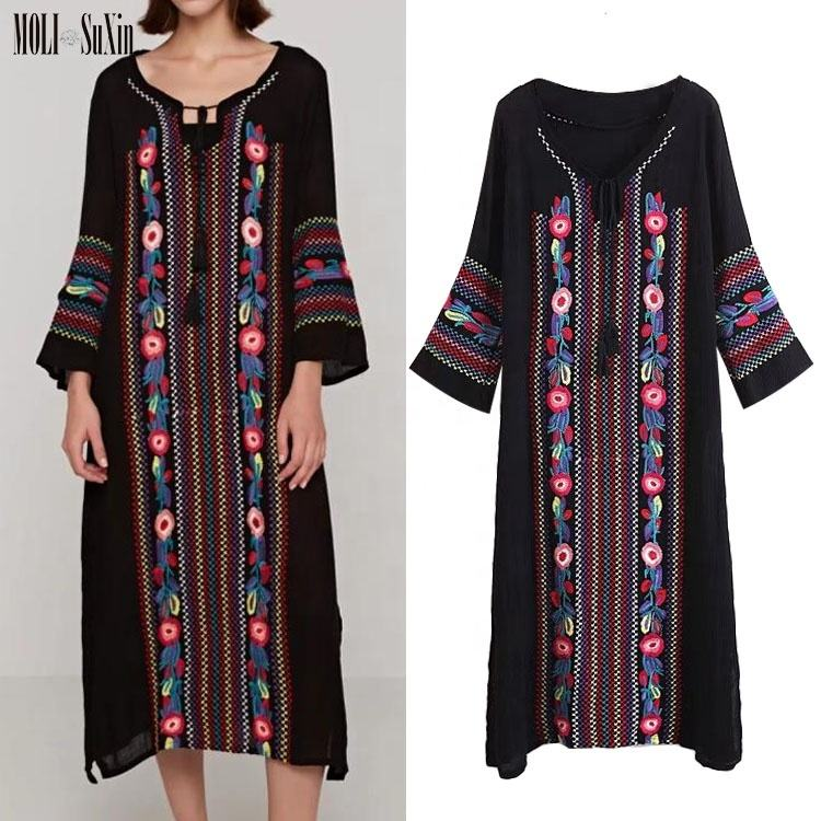 MOLI New Design Handmade Beach Crochet Fashion Mexican Lady Black Cotton Fabric Embroidered Dress