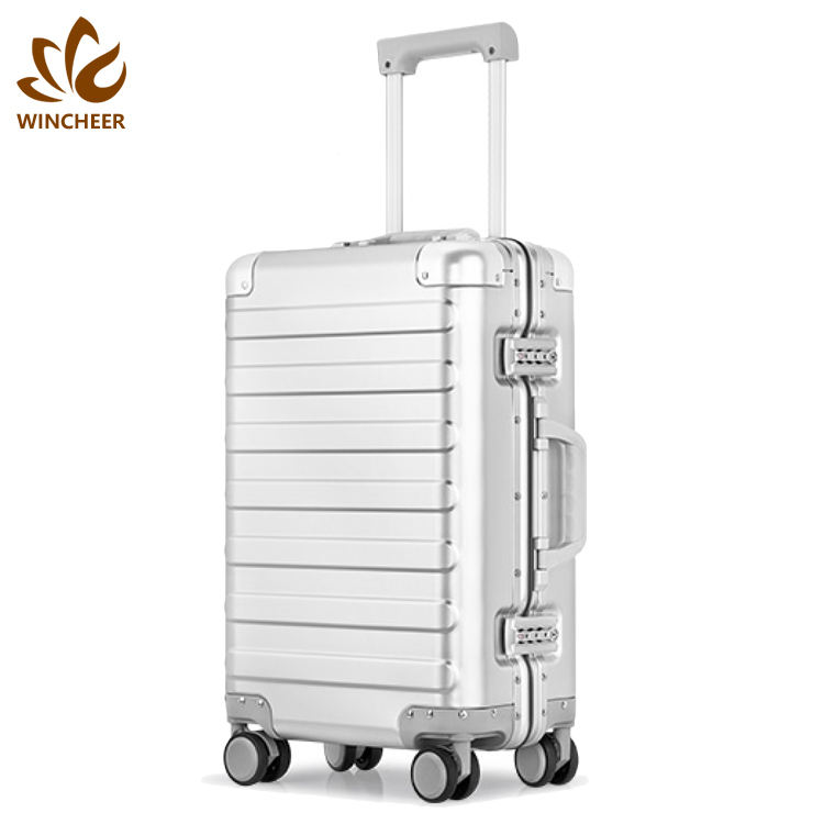 New style cheap waterproof aluminum trolley luggage sets wheeled rolling cabin suitcase with tsa lock