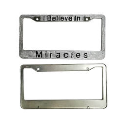 Jutien Hot-selling USA Customised logo/letters License Plate Frame With Acrylic/crystal Stones Crazy shinny bling