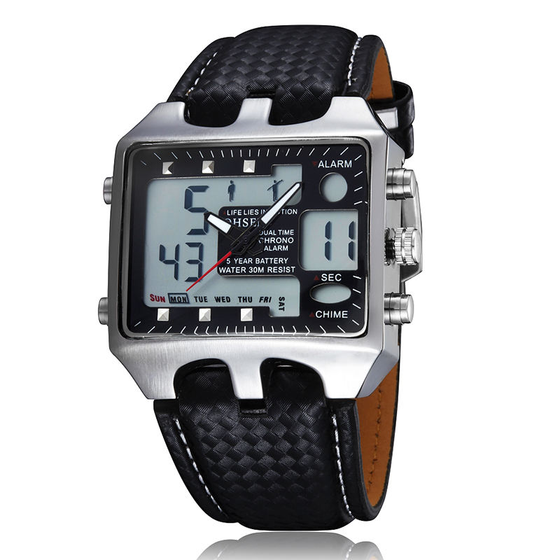 OHSEN Men AD0930 Sport Watches Analog Digital Quartz 3ATM Waterproof Dive Fashion Military Watch Relogio Male Clock
