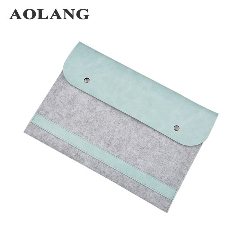 wholesale wool felt fabric lady pc sleeve bag laptop pouches