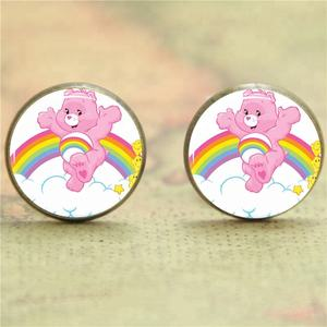 Cheer bear Earring Welcome to Care-a-Lot 80s cartoon glass Photo Cabochon Earring
