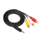 Hankpower 3.5mm Mini Jack AV to 3 RCA Male Adapter Audio Video Cable Stereo cable