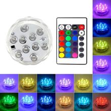 Battery Operated 10LED RGB Underwater Light Submersible Candle Waterproof Swimming Pool Light for Vase Wedding Party