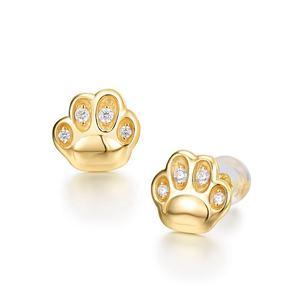 Anti allergic animal jewellery 925 Sterling silver stud cat dog paw print earrings
