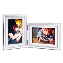 Wooden Double 4x6 White Folding Collage Picture Frames