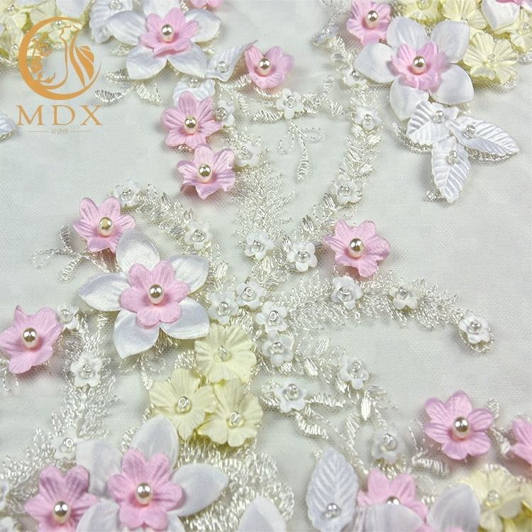 Newest Lady Lace Dress Design Fabric Multi-color Lace Fabric Beads With 3D Flower Hand Work Embroidery Lace Fabric