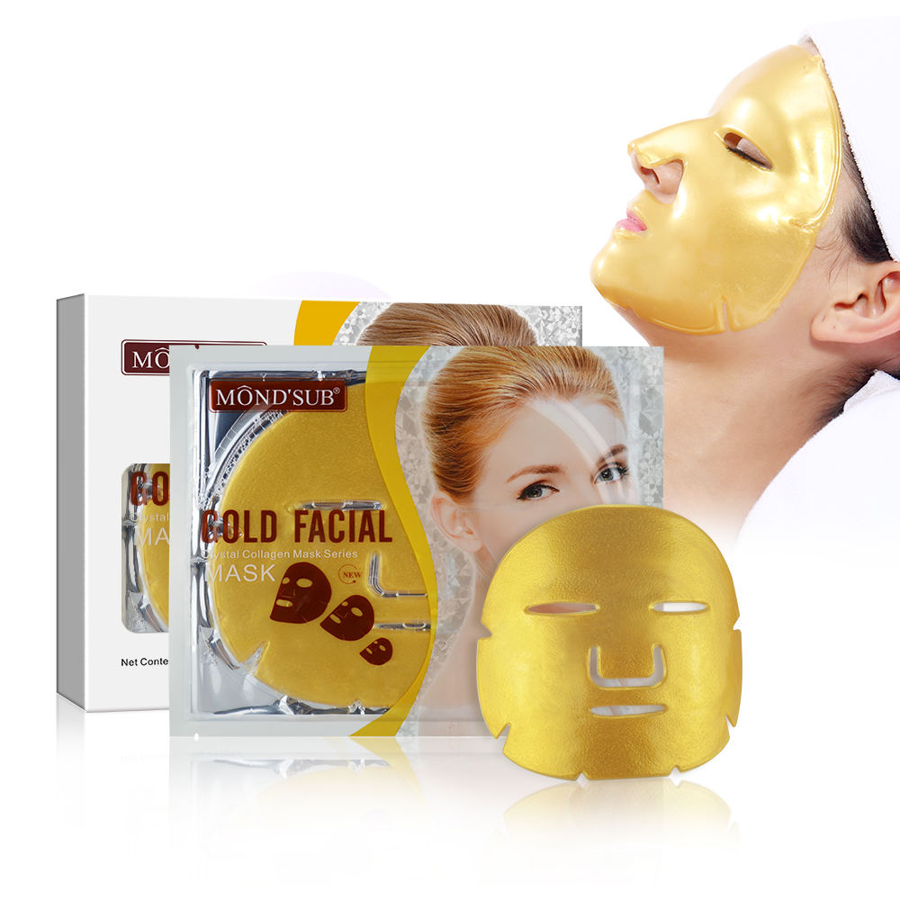 Mond'sub skincare collagen crystal spa 24k gold whitening hydrating and moisturizing facial face mask sheet for OEM