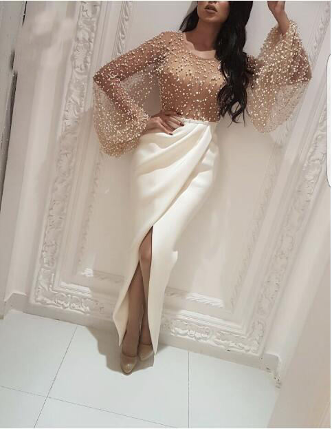Fashion Ladies Party Wear Gowns Long Bell Sleeve Fish Cut Split Customized Prom Dresses