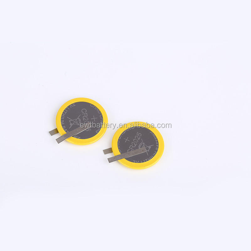 cr2025 battery 3v lithium button coin battery cell with solder tabs