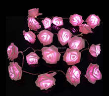 Battery 20PCS Pink LED Flower Fairy String Lights Home Room Wedding Party Decor