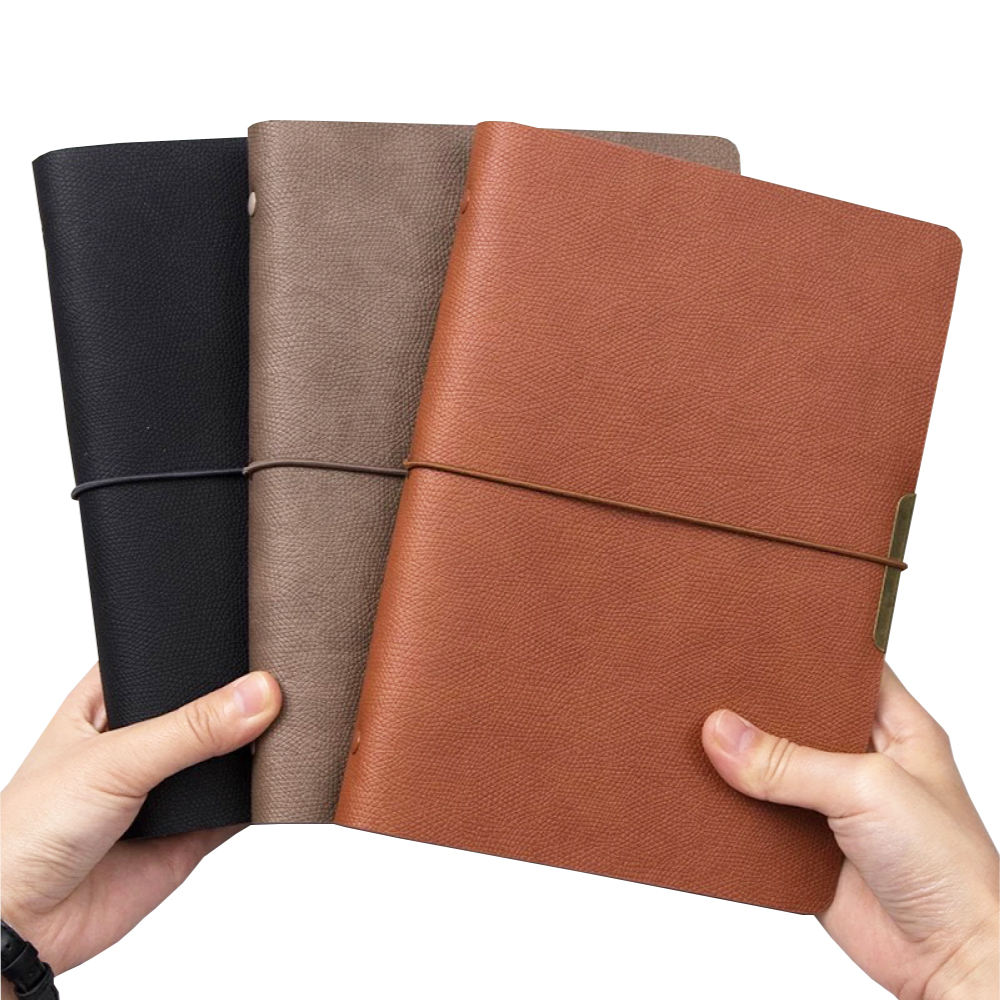 High quality business notebook a5 pu leather loose-leaf 6 ring binder soft cover with elastic strap diary refillable inner pages