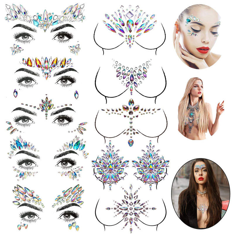 35sets Rave Festival Face Jewels Stick On Crystals Unicorn Face Gems Stickers Glitter Rainbow Tears Rhinestone Temporary Tattoo