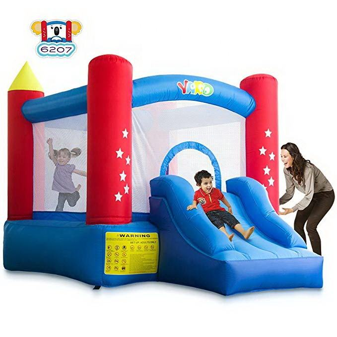 Mini nylon home use bounce house inflatable bouncer bouncy castle kid trampoline with free powerful blower