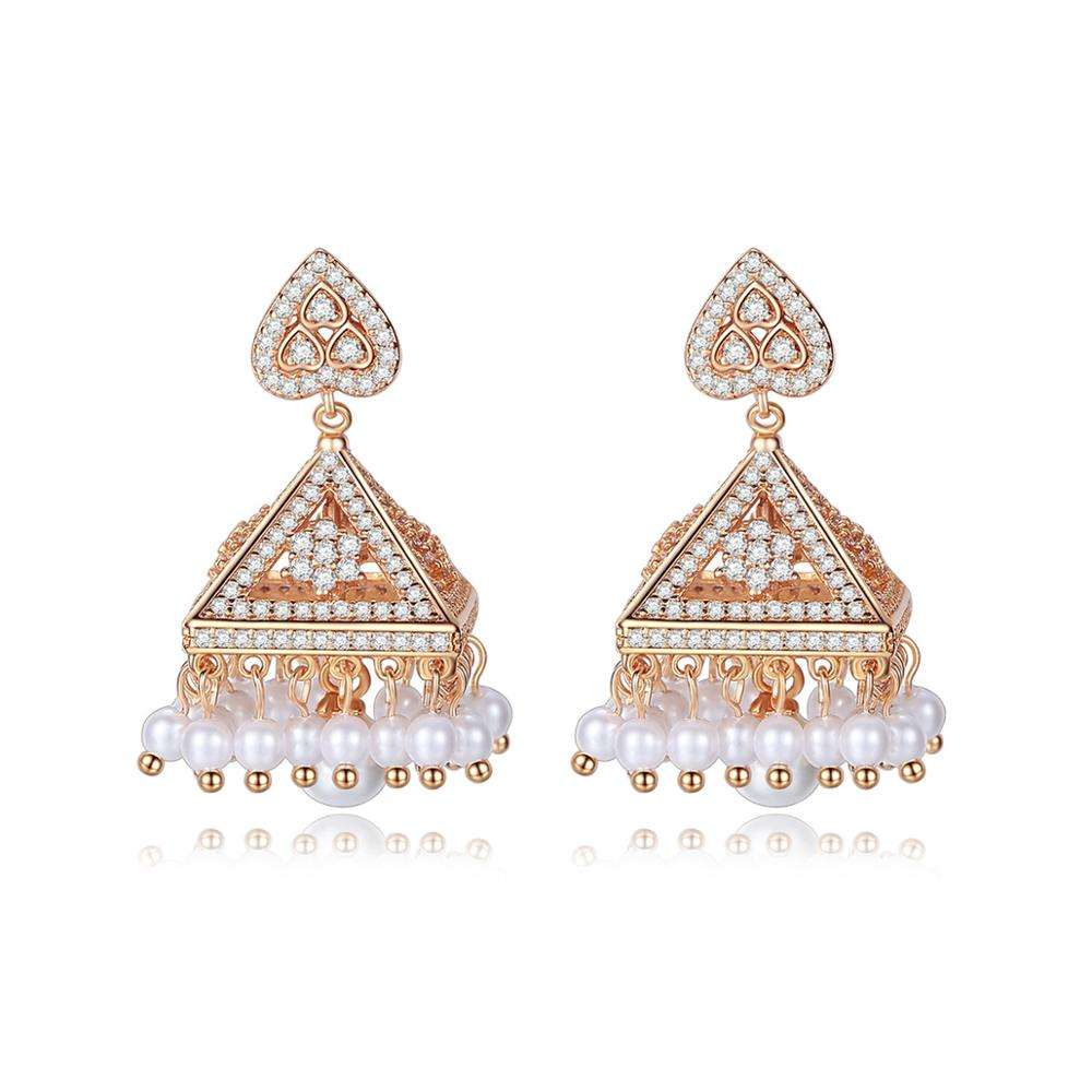 LUOTEEM IIndian Chandelier Jhumka Earrings for Women Luxury Jewelry