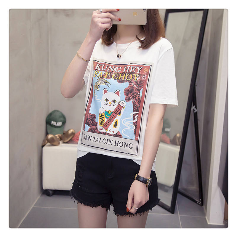 Lucky Cat Printed Cotton Short-sleeved Shirt Ladies'Loose Spring and Summer 2009 New Fashion Bottom Shirt Top
