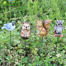 Decoration Resin Animal Bird Hedgehog Owl Squirrel Garden Stake
