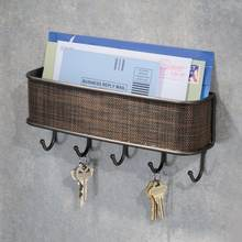Multi-function Home Wall Mounted Mail Organizer with 5 Key Hooks