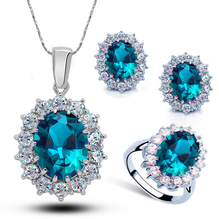 2019 New Arrival Women Multi Colors 925 Sterling Silver Crystal Blue Cubic Zircon Pendant Necklace Jewelry Sets