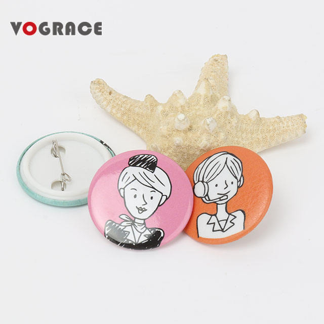 2019 vograce custom made metal pin badge wholesale button badges