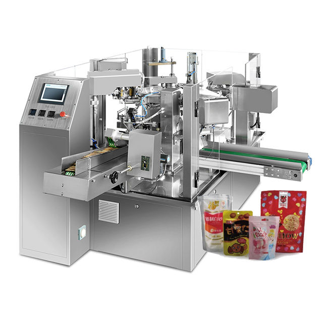 Pouch filling sealing doypack rotary grain premade bag filling sealing packing machine